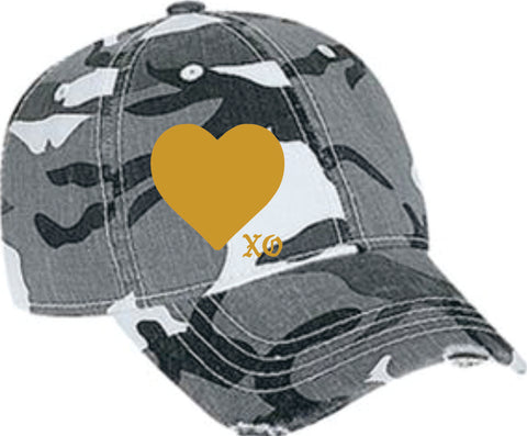 Gold Heart Distressed Camo cap