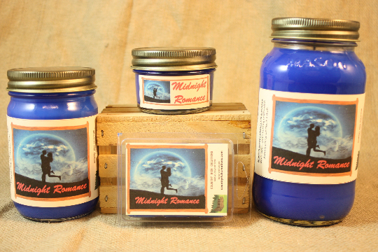 Midnight Romance Scented Candles and Wax Melts, Highly Scented Wax Tarts, 26 oz, 12 oz, 4 oz Jar Candles or 3.5 Clam Shell Wax Melts - Country Rich Creations, LLC