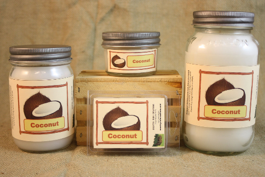 Coconut Scented Candle, Coconut Scented Wax Tarts, 26 oz, 12 oz, 4 oz Jar Candles or 3.5 Clam Shell Wax Melts - Country Rich Creations, LLC