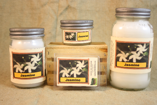 Jasmine Flower Scented Candle,  Jasmine Flower Scented Wax Tarts, 26 oz, 12 oz, 4 oz Jar Candles or 3.5  Clam Shell Wax Melts - Country Rich Creations, LLC