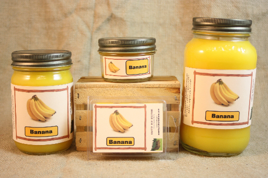 Banana Scented Candle, Banana Scented Wax Tarts, 26 oz, 12 oz, 4 oz Jar Candles or 3.5 Clam Shell Wax Melts - Country Rich Creations, LLC