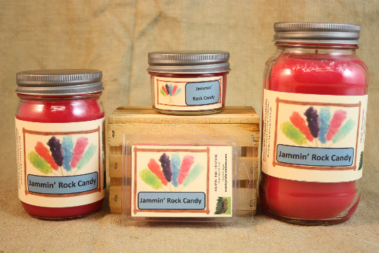 Jammin' Rock Candy Scented Candle, Jammin' Rock Candy Scented Wax Tarts, 26 oz, 12 oz, 4 oz Jar Candles or 3.5 Clam Shell Wax Melts - Country Rich Creations, LLC