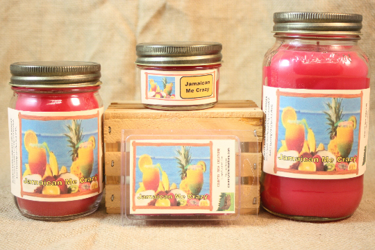 Jamaica Me Crazy! Scented Candle, Jamaica Me Crazy! Scented Wax Tarts, 26 oz, 12 oz, 4 oz Jar Candles or 3.5 Clam Shell Wax Melts - Country Rich Creations, LLC