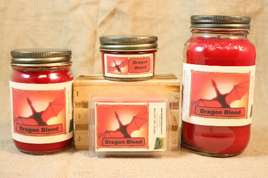 Dragon Blood Scented Candle, Dragon Blood Scented Wax Tarts, 26 oz, 12 oz, 4 oz Jar Candles or 3.5 Clam Shell Wax Melts - Country Rich Creations, LLC