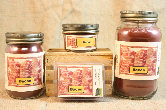 Bacon Scented Candle, Bacon Scented Wax Tarts, 26 oz, 12 oz, 4 oz Jar Candles or 3.5 Clam Shell Wax Melts - Country Rich Creations, LLC