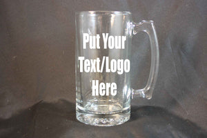Personalized 24 Ounce Glass Stein, Personalized Beer Stein, Custom Etching, Sand Etching, Large Drinking Glass, Personalized Mug - Country Rich Creations, LLC