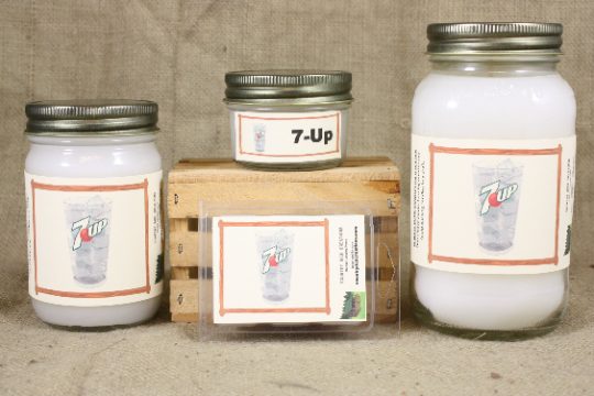Seven-Up Scented Candle and Wax Melts, Soda Scented Candle, Highly Scented Candles and Wax Tarts, Great Gift, Mason Jar Candles