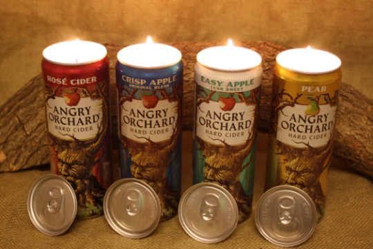 Beer Can Candle Upcycled from Angry Orchard Beer Cans, Highly Scented Unique Candle - Free Shipping - Country Rich Creations, LLC