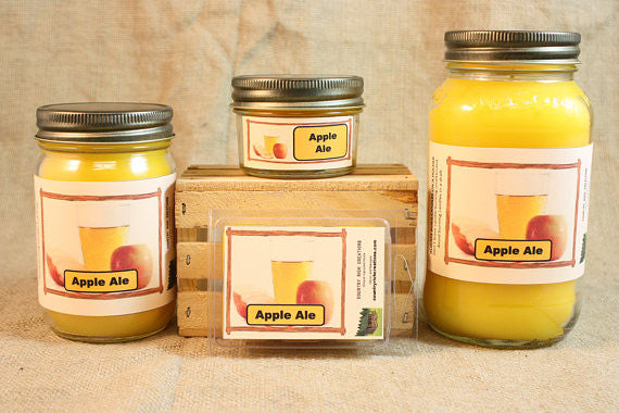 Apple Ale Scented Candle, Apple Ale Scented Wax Tarts, 26 oz, 12 oz, 4 oz Jar Candles or 3.5 Clam Shell Wax Melts - Country Rich Creations, LLC