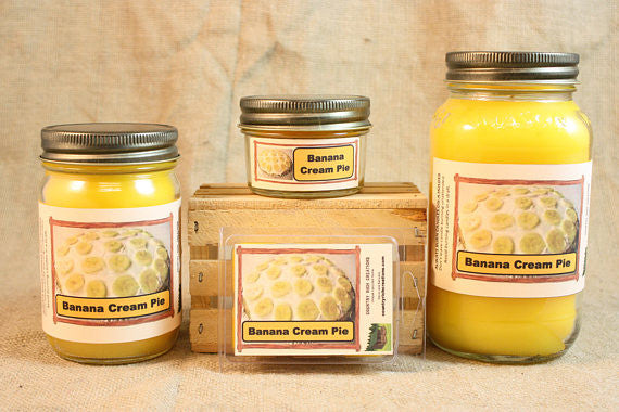 Banana Creme Pie Scented Candle, Banana Creme Pie Scented Wax Tarts, 26 oz, 12 oz, 4 oz Jar Candles or 3.5 Clam Shell Wax Melts - Country Rich Creations, LLC