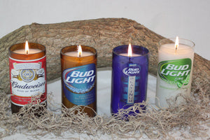 Beer Bottle Candle Recycled from Budweiser Beer Bottles, High Scented, Custom Made Candle - Country Rich Creations, LLC