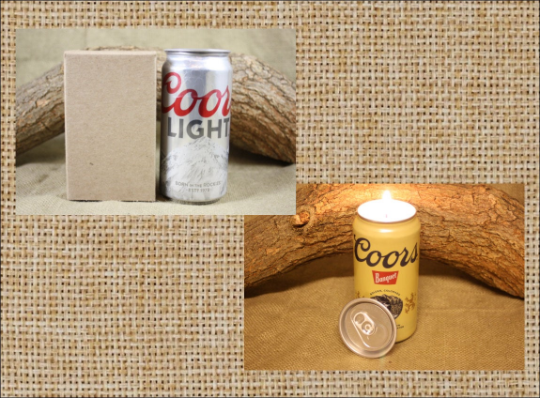 Beer Can Candle Upcycled from Coor and Coors Light Beer Cans, Coors and Coors Light Candle - Free Shipping - Country Rich Creations, LLC