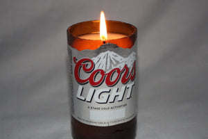 Beer Bottle Candle Upcycled from Coor Light Beer Bottle, Coors Light Candle - Country Rich Creations, LLC