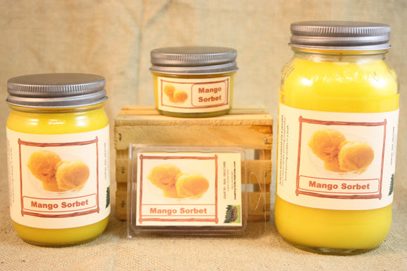 Mango Sorbet Scented Candles and Wax Melts, Highly Scented Wax Tarts, 26 oz, 12 oz, 4 oz Jar Candles or 3.5 Clam Shell Wax Melts - Country Rich Creations, LLC