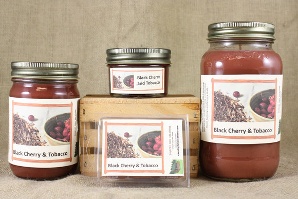 Black Cherry and Tobbaco Scented Candles and Wax Melts, Food Scented Candle, Father's Day Gift, Man Cave Candle