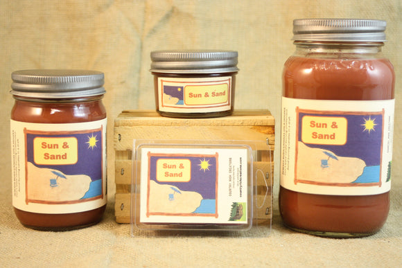 Sun and Sand Scented Candle, Sun and Sand Scented Wax Tarts, 26 oz, 12 oz, 4 oz Jar Candles or 3.5 Clam Shell Wax Melts - Country Rich Creations, LLC