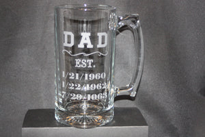 Beer Stein, Father's Day Gift, Personalized, Sand-Etched Image, Bar Ware, Man Cave - Country Rich Creations, LLC