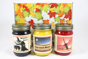 "Fall Scented Halloween Candle Collection, ""Fright Night"", Witches Brew, Harvest Moon, and Dragon Blood Scents, Three 12 Ounce Candles - Country Rich Creations, LLC"