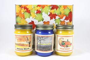 "Fall Scented Candle Collection, ""Fall Nature"", Harvest, Autumn Woods and November Rain Scents, Three 12 Ounce Candles - Country Rich Creations, LLC"