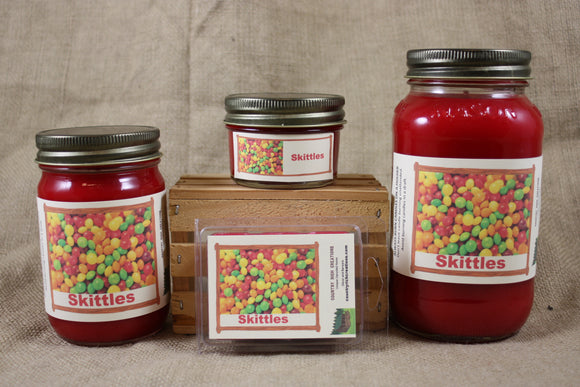 Skittles Scented Candles and Wax Melts, Candy Scent Candle, Highly Scented Candles and Wax Tarts - Country Rich Creations, LLC