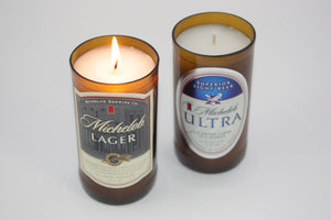 Beer Bottle Candle from Upcycled Michelob Lager, Michelob Ultra Beer Bottle - Country Rich Creations, LLC