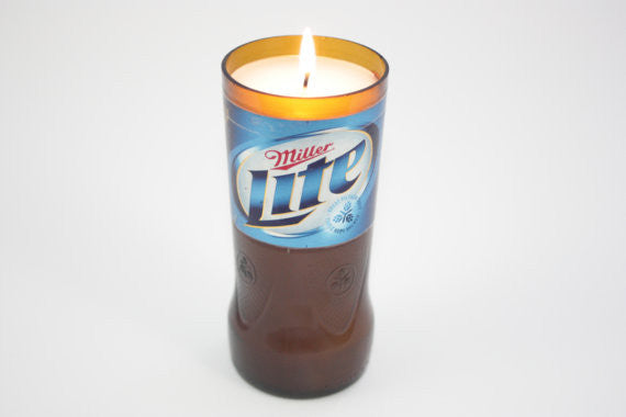 Beer Bottle Candle Upcycled from Miller Lite Beer Bottle, Custom Made Candle - Country Rich Creations, LLC