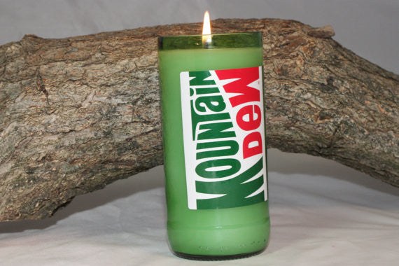 Upcycled Soda Bottle Candle, Upcycled Moutain Dew Bottle, Highly Scented in Mountain Dew Fragrance - Country Rich Creations, LLC