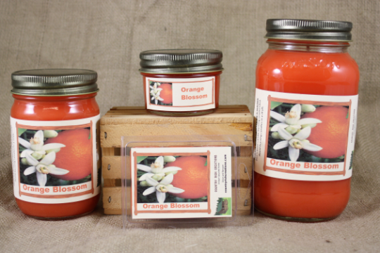 Orange Blossom Candles and Wax Melts, Flower and Citrus Scent Candle Wax, Highly Scented Candles and Wax Tarts, Gift for Her, Gift for Mom