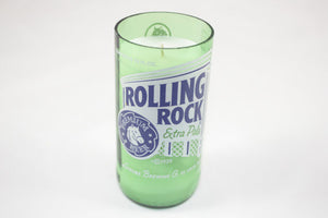 Beer Bottle Candle from Upcycled Rolling Rock Beer Bottle, Beer Bottle Candle Custom Scent - Country Rich Creations, LLC