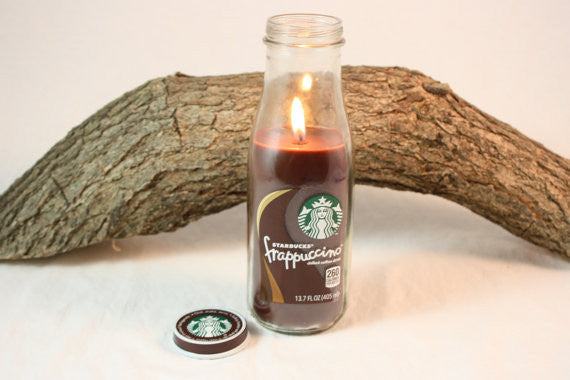 Coffee Candle in Upcycled Starbucks Bottle, Cappuccino, Coffee, Coffee Mocha, Espresso Latte, Hazelnut Coffee Scented, Upcycled Starbucks Candle - Country Rich Creations, LLC