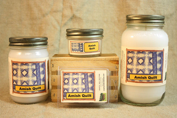 Amish Quilt Scented Candle, Amish Quilt Scented Wax Tarts, 26 oz, 12 oz, 4 oz Jar Candles or 3.5 Clam Shell Wax Melts - Country Rich Creations, LLC
