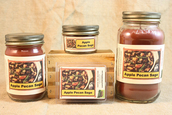 Apple Pecan Sage Scented Candle, Apple Pecan Sage Scented Wax Tarts, 26 oz, 12 oz, 4 oz Jar Candles or 3.5 Clam Shell Wax Melts - Country Rich Creations, LLC