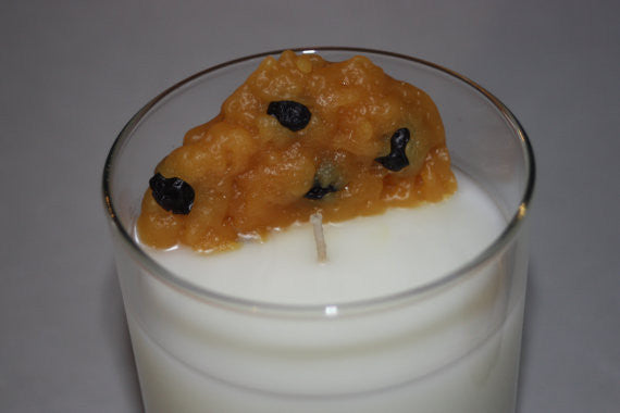 Oatmeal Raisin Cookie and Milk Candle Set, Home Decor Candles, Fake Food - Country Rich Creations, LLC