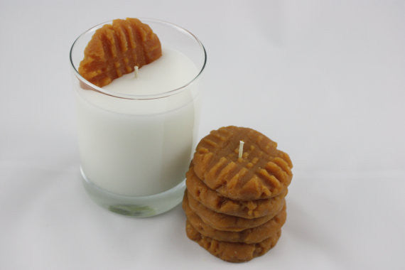 Peanut Butter Cookies and Milk Candle Set, Fake Wax Food, Holiday Candles - Country Rich Creations, LLC