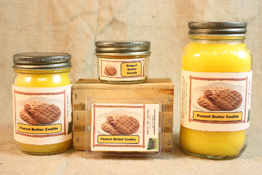 Peanut Butter Cookie Scented Candle, Peanut Butter Cookie Scented Wax Tarts, 26 oz, 12 oz, 4 oz Jar Candles or 3.5 Clam Shell Wax Melts - Country Rich Creations, LLC