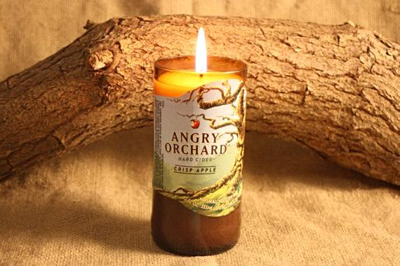 Beer Bottle Candle Upcycled from Angry Orchard Beer Bottle, Highly Scented Unique Candle - Country Rich Creations, LLC