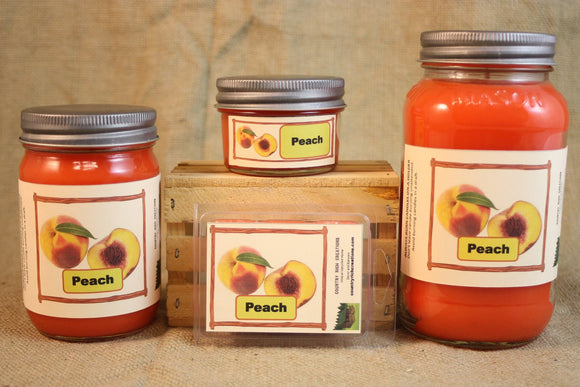 Peach Scented Candle and Wax Melts, Fruit Scent Candle, Highly Scented Candles and Wax Tarts, Mason Jar Candle, Housewarming Gift - Country Rich Creations, LLC