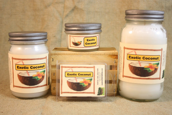 Exotic Coconut Scented Candle, Exotic Coconut Scented Wax Tarts, 26 oz, 12 oz, 4 oz Jar Candles or 3.5 Clam Shell Wax Melts - Country Rich Creations, LLC