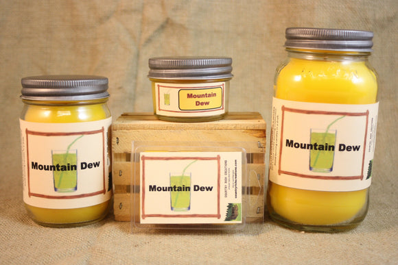Mountain Dew Scent Candles and Wax Melts, Beverage Scent Candle Wax, Highly Scented Candles and Wax Tarts, Great Gift for Mt Dew Lover - Country Rich Creations, LLC
