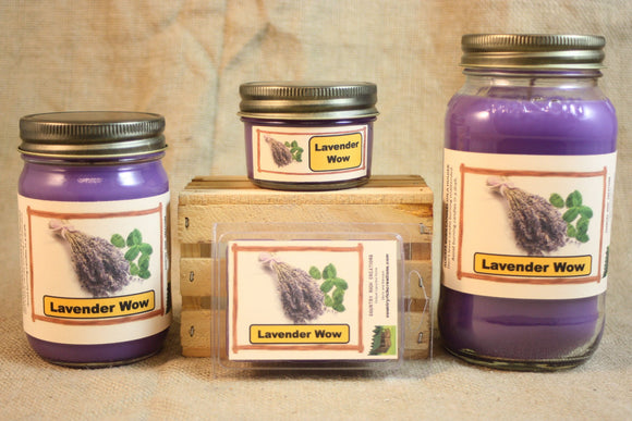 Lavender WOW Candle and Wax Melts, Floral Scent Candle, Highly Scented Candles and Wax Tarts, Mason Jar Candle, Gift for Mom, Strong Scent - Country Rich Creations, LLC