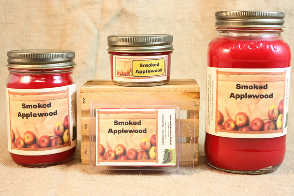 Smoked Apple Wood Candles and Wax Melts, Highly Scented Nature Candle and Wax Tarts, Great Fall Scented Candle, Housewarming Gift - Country Rich Creations, LLC