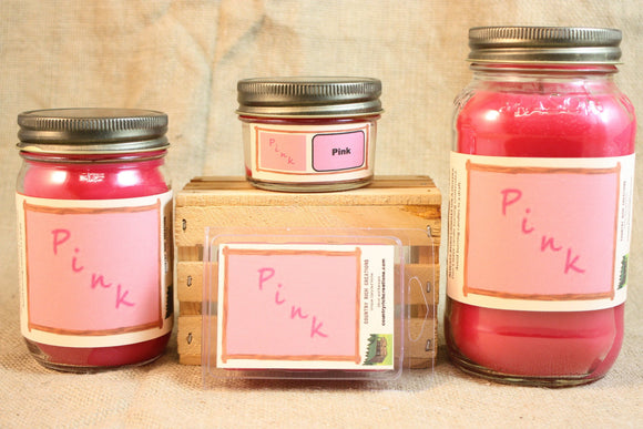 Pink (VS Type) Scented Candle, Pink (VS Type) Scented Wax Tarts, 26 oz, 12 oz, 4 oz Jar Candles or 3.5 Clam Shell Wax Melts - Country Rich Creations, LLC
