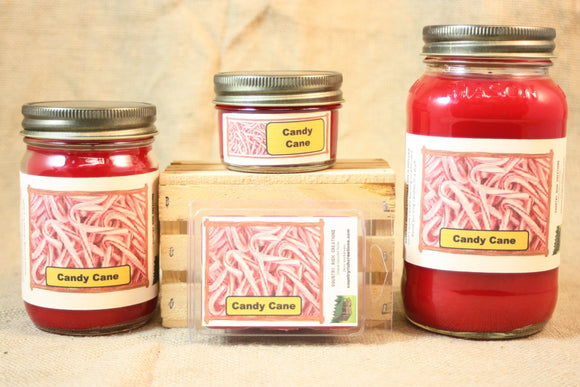 Candy Cane Candles and Wax Melts, Candy Scent Candle, Highly Scented Candles and Wax Tarts, Christmas Candle, Holiday Peppermint Candy Scent - Country Rich Creations, LLC