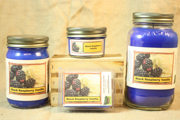 Black Raspberry Vanilla Scented Candle, Black Raspberry Vanilla Scented Wax Tart, 26 oz, 12 oz, 4 oz Jar Candles or 3.5 Clam Shell Wax Melts - Country Rich Creations, LLC