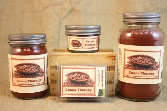 Cocoa Therapy Candle and Wax Melts, Candy Scent Candle, Highly Scented Candles and Wax Tarts, Pure Chocolate Scent, Chocolate Lover Gift - Country Rich Creations, LLC