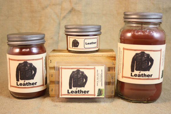 Leather Scent Candles and Wax Melts, Unique Scent Candle Wax, Highly Scented Candles and Wax Tarts, Gift for Him, Strong Leather Scent - Country Rich Creations, LLC