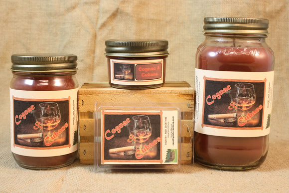 Cognac and Cubans Candle and Wax Melts, Male Fragrance Scented Candles and Wax Tarts, Gift for Him, Masculine Scent Candle, Mason Jar Candle - Country Rich Creations, LLC