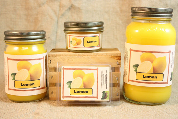Lemon Scent Candles and Wax Melts, Fruit Scent Candle Wax, Highly Scented Candles and Wax Tarts, Clean Fresh Scent - Country Rich Creations, LLC