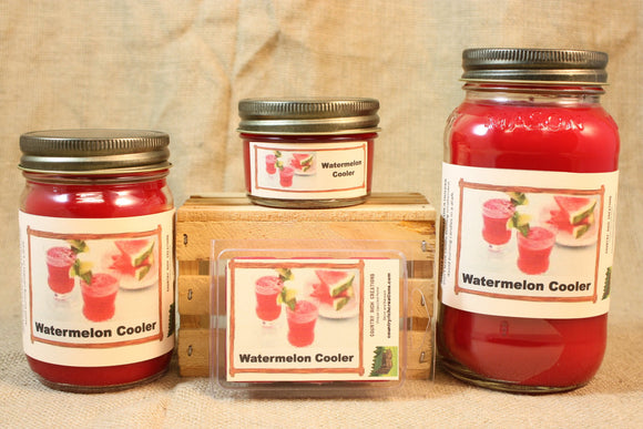 Watermelon Cooler Candles and Wax Melts, Beverage Scent Candle, Highly Scented Candles and Wax Tarts, Summertime Scent Candle, Hostess Gift - Country Rich Creations, LLC