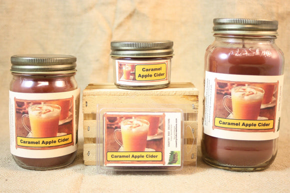 Caramel Apple Cider Candles and Wax Melts, Highly Scented Beverage Candle and Wax Tarts, Great Fall Fragrance, Housewarming Gift - Country Rich Creations, LLC